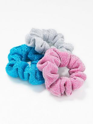 3-pack Glitter Scrunchies Turquoise