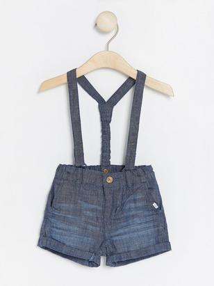 Chambray Shorts with Suspenders Blue