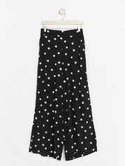 Wide Dotted Trousers  Black