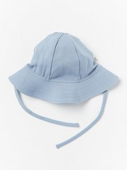 Sun Hat with Tie Band Blue