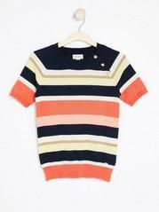 Randig kortärmad tröja Orange