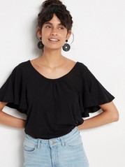 Cotton Top with Flounce Sleeve Black