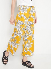Patterned Trousers with Wide Legs  Yellow