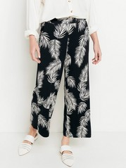 Patterned Trousers with Wide Legs  Black