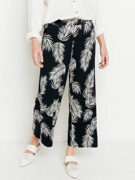 Mønstrede bukser med vide ben Svart