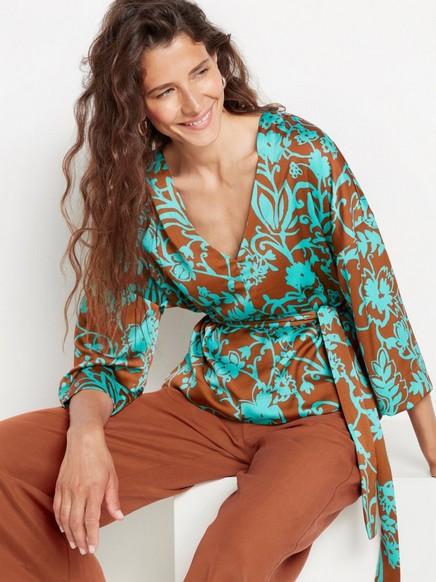 Mønstret bluse med knytebånd Brun