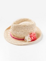 Straw hat with flowers Beige