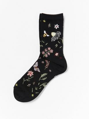 Sock with Floral Pattern Black