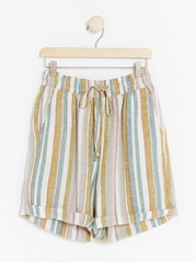 High-waist Linen Blend Shorts  Yellow