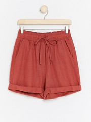 High-waist Linen Blend Shorts  Red