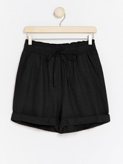 High-waist Linen Blend Shorts  Black