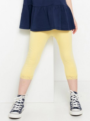 3/4-length leggings with lace Yellow