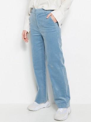 Manšestrové kalhoty svysokým pasem Modrá