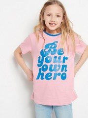T-shirt with Text Print Pink