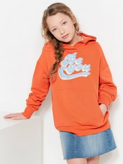 Hooded Sweater with Text Print Orange