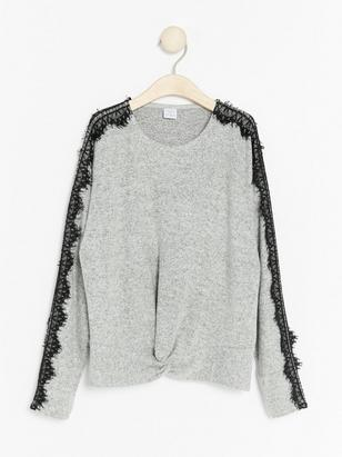 Knit Sweater with Lace Details Grey