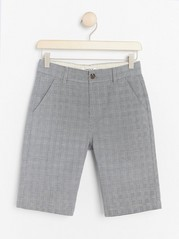 Loose Checked Cotton Shorts White
