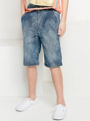 Loose Denim Shorts with Pattern Blue
