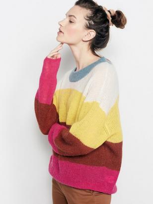 Striped Wool Blend Sweater Pink
