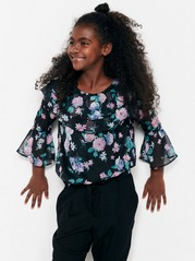 Floral Chiffon Blouse with Flounces Black