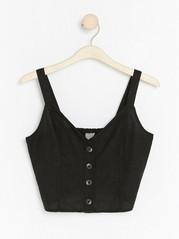 Short linen blend camisole Black