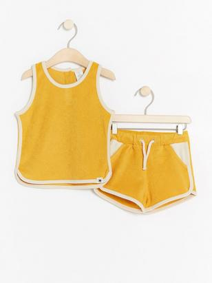Terry set with tank top and shorts Yellow