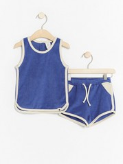 Terry set with tank top and shorts Blue
