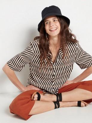 Vzorovaná košile skrátkým rukávem Černá