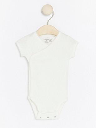 Wrap Bodysuit with Pointelle White