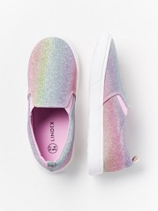 Slip-on Shoes with Glitter Pink
