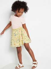 Dress with Floral Skirt Yellow