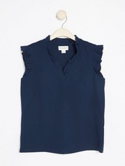 V-neck Top with Flounce  Blue