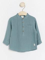 Collarless Shirt Turquoise