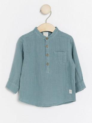 Košile bez límečku Tyrkysová