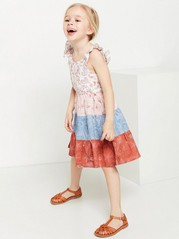 Flared Dress with Patches Pink