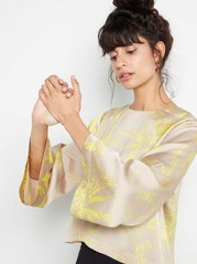 Patterned Blouse with Bell Sleeves  Beige