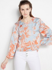 Patterned Blouse with Bell Sleeves  Blue