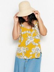 Patterned Viscose Tank Top  Yellow