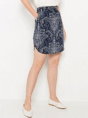 Short Paisley Patterned Viscose Skirt  Blue