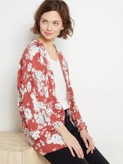Floral Viscose Kimono  Red