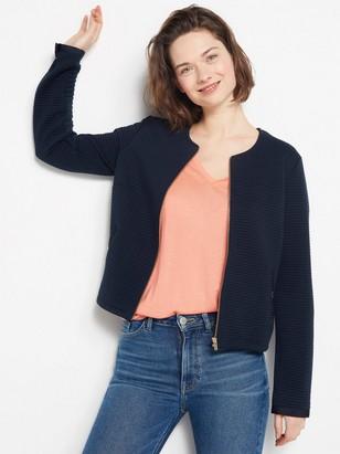 Ribbestrikket, marineblå jakke Blå