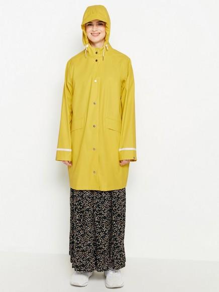 Hupullinen sadetakki Keltainen