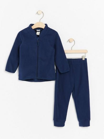Fleecesetti, jossa takki ja housut Sininen