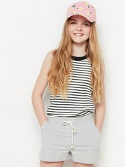 Ribbed and Striped Tank Top Black