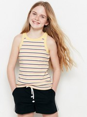 Ribbed and Striped Tank Top Yellow