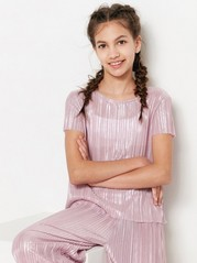 Pink Pleated Top  Pink