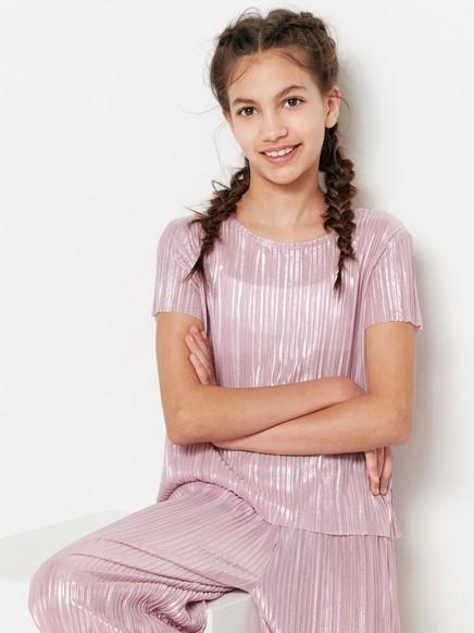 Vaaleanpunainen laskostettu pusero Vaaleanpunainen