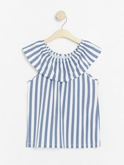 Top with Flounce and Stripes White