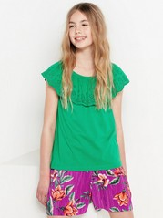 Top with Hole-embroidery and Flounce Green