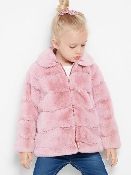 Jakke med rosa fuskepels Rosa